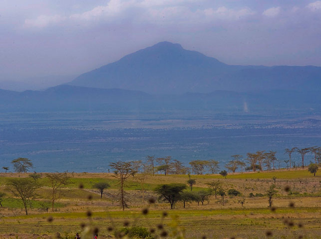 view over savana to longido mountain at enduiment with allan tanzania safaris